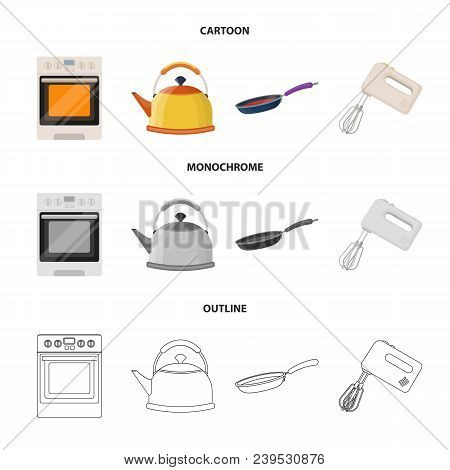 Kitchen Equipment Cartoon, Outline, Monochrome Icons In Set Collection For Design. Kitchen And Acces