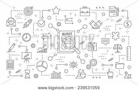 Audit Icons Set. Line Icons On White Background.