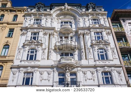 Decorated Facade Of Tenement House In Vienna City, Capital Of Austria