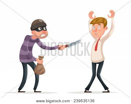 Robbery Thief Robber Burglar Steal Money Bag Helpless Scared Businessman Guy Man Character Icon Isol