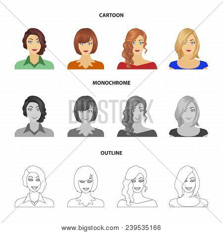 The appearance of a woman with a hairdo, the face of a girl. Face and appearance set collection icons in cartoon, outline, monochrome style vector symbol stock illustration . poster