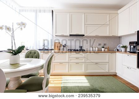 Modern And Bright Kitchen Interior With Appliances In A Luxury House