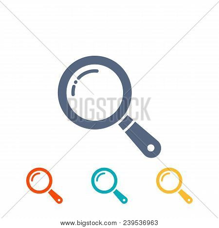 Magnifier Icons Set. Flat Magnifying Glass, Search Icon, Pictograms Isolated On White. Vector Illust