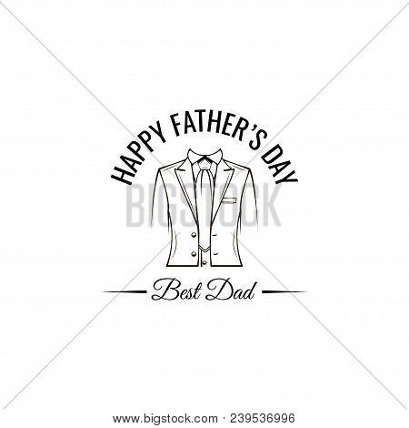 Happy Fathers Day Greeting. Necktie, Costume. Vintage Style. Best Dad Lettering. Dad Gift. Vector Il