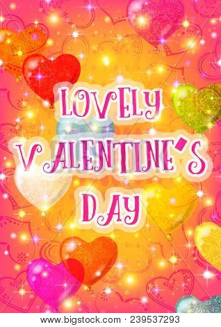 Valentine Holiday Background With Hearts And Balloons On Gold And Pink. Eps10, Contains Transparenci