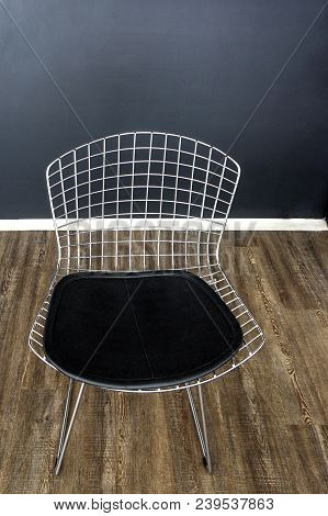 Contemporary Metallic Leather Chair Wooden Floor Indoors