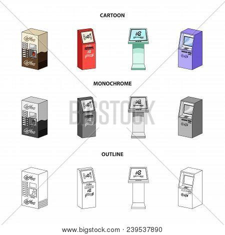 Coffee Machine, Atm, Information Terminal. Terminals Set Collection Icons In Cartoon, Outline, Monoc