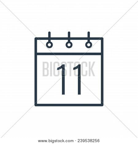 Linear Icon Of The Eleventh Day Of The Calendar Isolated On White Background.