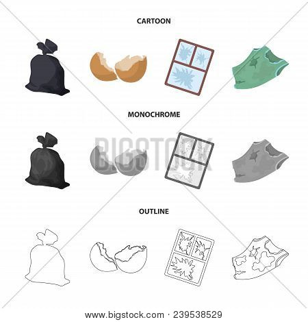 A Garbage Bag, A Broken Egg Shell, A Torn Dirty T-shirt, A Broken Window Frame With Glass.garbage An