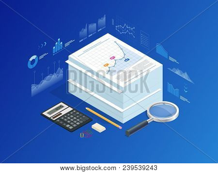 Isometric Stack Of Documents With An Official Stamp And Pencils In A Glass. A Method For Working In