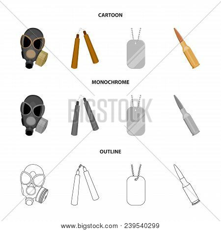 Gas Mask, Nunchak, Ammunition, Soldier Token. Weapons Set Collection Icons In Cartoon, Outline, Mono