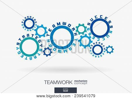 Connected Cogwheels Concept. Teamwork Success, Strategy Plan, Research Words. Integrated Gears, Text