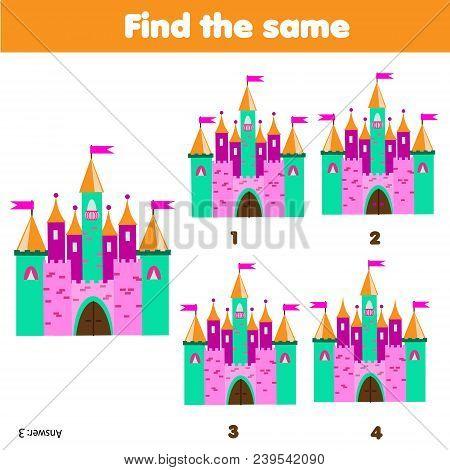 Find The Same Pictures. Children Educational Game. Find Equal Pairs Of Fairy Castles