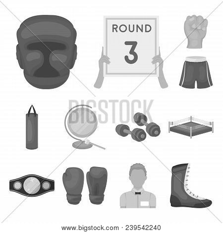Boxing Extreme Sports Monochrome Icons In Set Collection For Design. Boxer And Attributes Vector Sym