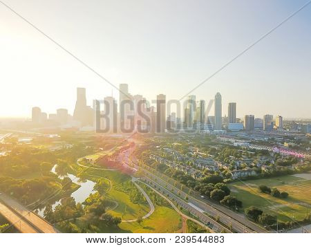 Aerial View Houston Downtown And Fourth Ward District