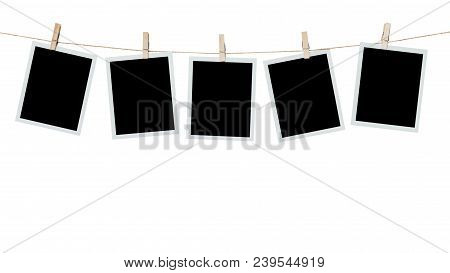 Five Photo Frame Blank Hanging On Isolated White With Clipping Path.