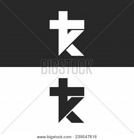Initials Tk Logo, Simple Mark Kt Monogram Emblem, Combination Two Letters T And K Minimal Style