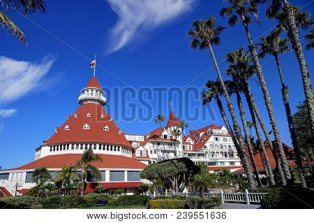 Coronado, San Diego, California, Usa - February 4, 2018 - Hotel Del Coronado On Coronado Island. Hot