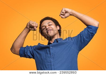 I Won. Winning Success Happy Man Celebrating Being A Winner. Dynamic Image Of Caucasian Male Model O