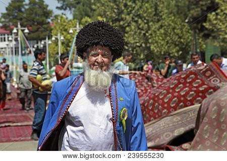Ashgabat, Turkmenistan - August, 17 ,2017: Melon Festival In Turkmenistan. The Oldest Participants O