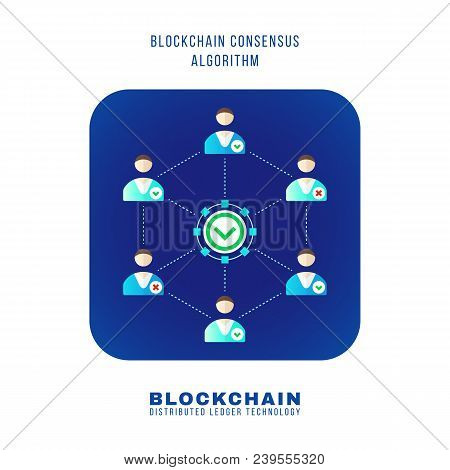 Blockchain Distributed Ledger Technology Illustration.