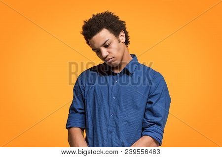 I Am Tired Of Everything. Bored Man. Boring, Dull, Tedious Concept. Young Afro Emotional Man. Human