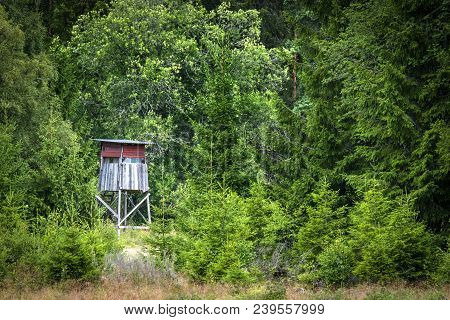 Wooden Hunting Tower In A Green Forest In The Summer With Red Painted Planks