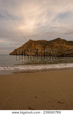 The closed cove in Aguilas at sunset, Murcia, Spain poster