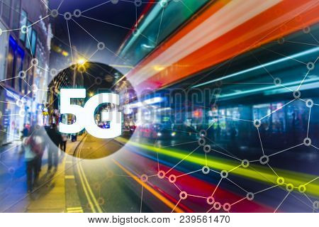 Digital Composite Of 5g With London Night Lights On The Background.5g World Summit Event, High Speed