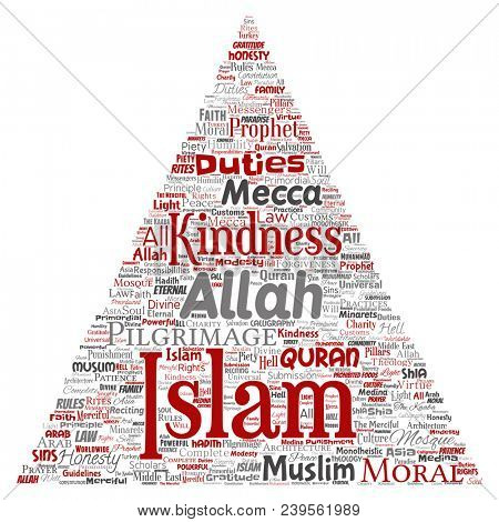 Conceptual islam, prophet, mosque triangle arrow red word cloud isolated background. Collage of muslim, ramadam, quran, pilgrimage, allah, duties, art, calligraphy, oriental, tradition concept