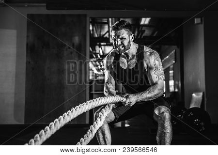 Muscular Powerful Aggressive Man Training With Rope In Functional Training Fitness Gym
