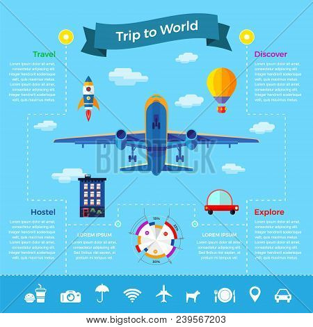 Travel Explore, Discover And Trip To World. Infographics Vector Illustrations Icons Set In Flat Styl