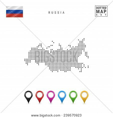 Dotted Map Of Russia. Simple Silhouette Of Russia. The National Flag Of Russia. Set Of Multicolored