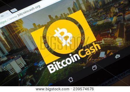 Ryazan, Russia - March 29, 2018 - Homepage Of Bitcoin Cash Cryptocurrency On Display Of Tablet Pc, W