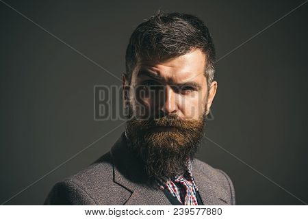 Pensive Man In Retro Clothes. Vintage Fashion - Man In Suit, Shirt, Waistcoat. Confident Man Dressed