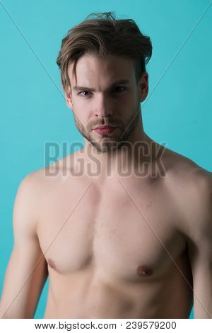 Bearded Man With Fit Chest. Macho With Sexy Bare Torso. Sportsman Or Athlete With Stylish Beard And