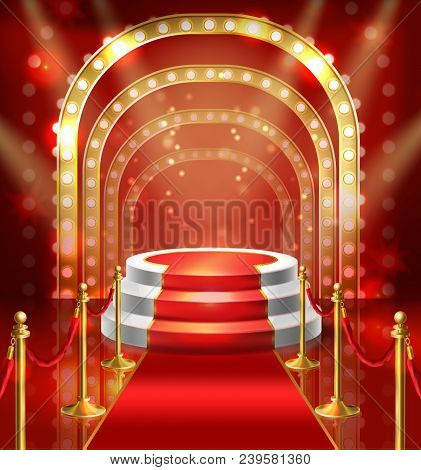 Vector Illustration Podium For Show With Red Carpet. Stage With Lamp Illumination For Stand Up, Perf