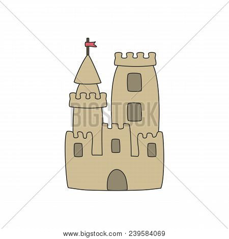 Cartoon Sandcastle Isolated On White Background. Vector Illustration.