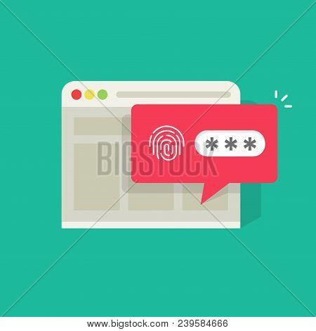 Website In Browser Logged In Or Unlocked Via Fingerprint Password Bubble Notification, Flat Cartoon