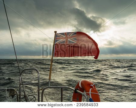 Seascape Before Storm, Dark Clouds And British Flag
