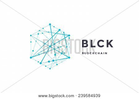 Template Label For Blockchain Technology. Hexagon With Connected Lines For Brand, Label, Logo, Logot