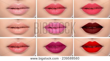 Set Or Collage Female Lips With Different Color Of Lipsticks On The Female Lips. Shades Of Lipstick