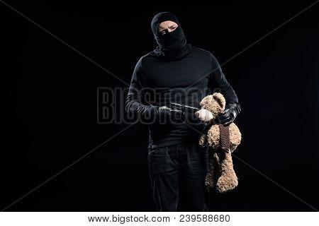 Burglar In Balaclava Holding Gun And Teddy Bear