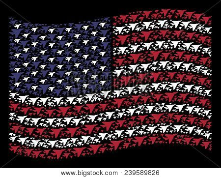 Airplane Intercepter Symbols Are Grouped Into Waving United States Flag Stylization On A Dark Backgr
