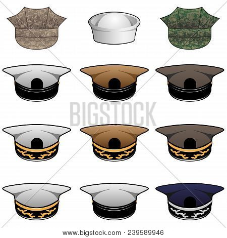 Military style hats in khaki, white, olive, blue and camouflage, vector illustration, with no ranks and insignias allowing for easy custom editing poster