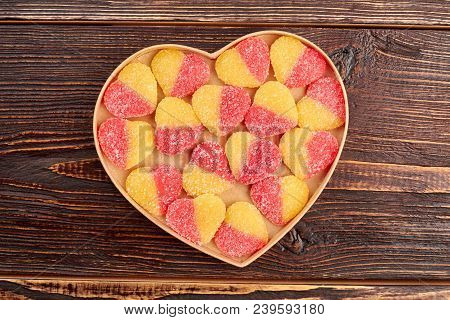 Jelly Candies In Heart Shaped Box. Colorful Heart-shaped Jelly Sugar Candies In A Heart-shaped Box O