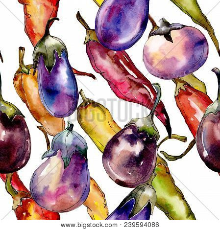 Violet Eggplant Vegetable In A Watercolor Style Pattern. Full Name Of The Vegetable: Eggplant. Aquar