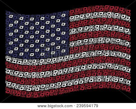 Dash Currency Icons Are Combined Into Waving United States Flag Stylization On A Dark Background. Ve
