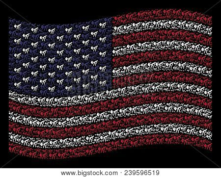 Fart Gases Pictograms Are Combined Into Waving United States Flag Abstraction On A Dark Background.