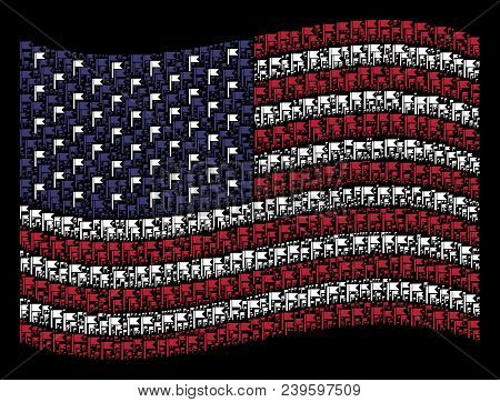 Flag Icons Are Combined Into Waving American Flag Abstraction On A Dark Background. Vector Concept O